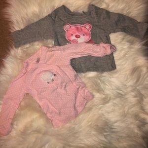 TWO baby girl long sleeve tops